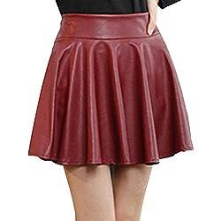 SaiDeng Mujer Cintura Elástica Cuero PU Elástica Plisada Básica Mini Falda Vino Rojo