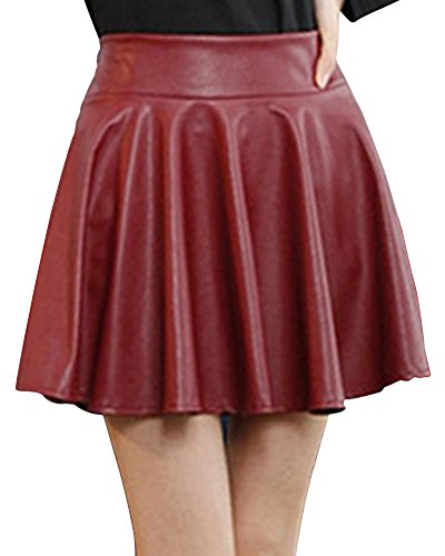 saideng-mujer-cintura-elastica-cuero-pu-elastica-plisada-basica-mini-falda-vino-rojo