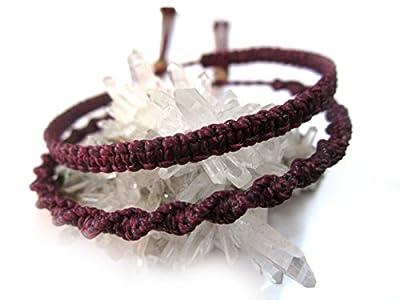 X2 Bracelets brésiliens en fil tissage fin plat et rond spirale prune/aubergine/violet foncé tissés/tressés main en macramé avec du fil ciré. Amitié/Duo/Bohème/Unisexe/Surf/Bijoux Réf.PP+PS632