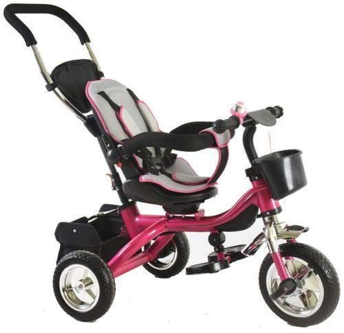 Trike Tricycle Stroller Buggy Wheel Ride Push Rain Cover Rubber Tyres 4 in 1 System (Pink) Generic Removable Leg rest for kids to feet up. Adjustable and removable parent handle or control bar. Plastic seat with removable padded cushion and lap seat belt to keep your child safe. 7