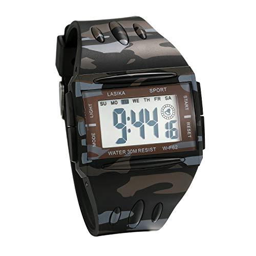 JewelryWe Herren Digitaluhr Digital Armbanduhr 30M wasserdichte Sportuhr Militär Camouflage Rechteckige Uhren mit Stoppuhr, Wecker, Alarm, Datum Tag Kalender und LED Beleuchtung
