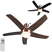 QAZQA Ventilatore da soffitto Cool 52 - Moderno - Vetro/Poliestere/Metallo, - Nero/Rame/Marrone, - Tondo - adatto per LED - E14 - Max. 2 x 40 Watt