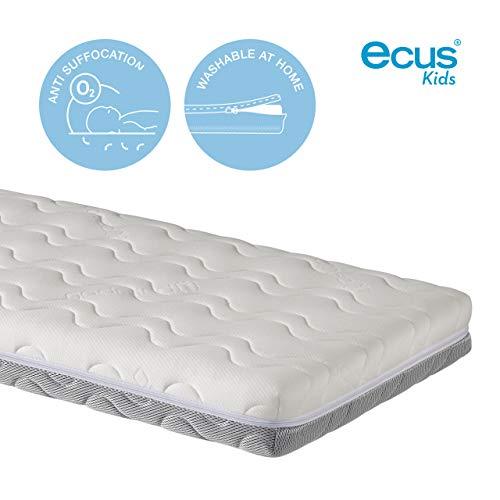 Ecus Kids OXSI, Colchón de cuna Oxígena HR con cremallera perimetral, cara antiasfixia e invierno, 120cm x 60cm