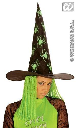 Trumpet Monkey Hexenhut mit Grünem Neon-Haar, Kostüm-Zubehör für Fasching, Karneval, Halloween, Verkleidung Hexe (Neon Grüne Haare)