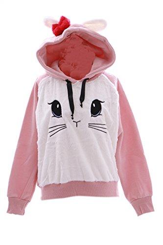 TS-46-2 rosa Hasen-Ohren Bunny Face Rabbit Kapuzen Sweatshirt Pullover Pastel Goth Lolita Harajuku Japan (Kapuzen-sweatshirt Bunny)