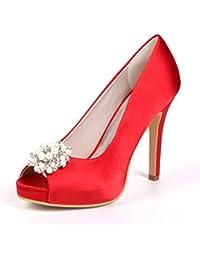 67535a82cd6a Qingchunhuangtang  Luxuriöse Schuhe der Frauen Abend Schuhe Strass Hochzeit  Schuhe Fisch Mund