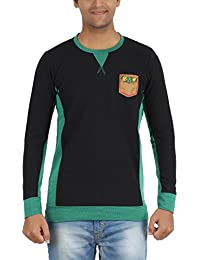 Indian Polo Men's Cotton T-Shirt (DTS143--XL, Black and Green, X-Large)