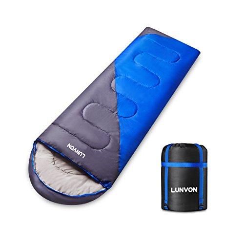 Lunvon Outdoor Schlafsack Mumienschlafsack, 220 x 75 cm,Super Warme Wasserdichte Zelten Camping Wandern Schlafsäcke Dunkelblau mit Grau