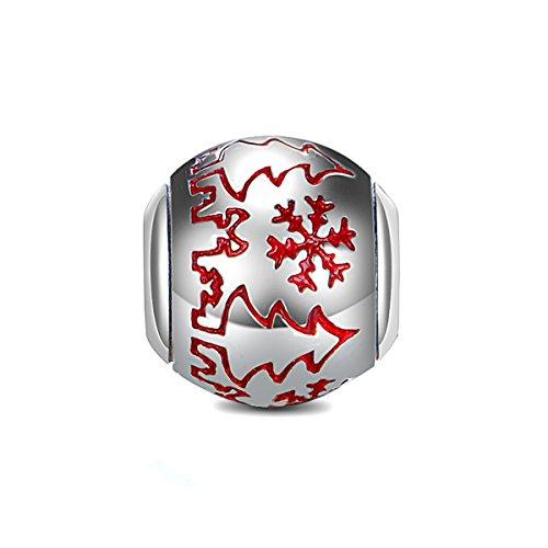 GW Sterling Silber Weihnachtsbaum Charms mit Schnee rot Emaille Charms für europäischen Style Charm Armband für Frauen/Bernstein