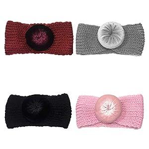 BESTOYARD 4 stücke Baby mädchen Kleinkind säuglingsstirnbänder häkeln gestrickte Ball geknotete haarbänder Turban Kopf Wickeln beugt zubehör