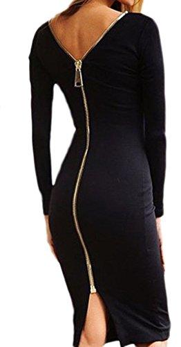 Smile YKK Robe de Cocktail Soirée Mariage Femme Coton Manches Longues Dos Zippé Elégante Noir