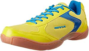 Nivia Aster Badminton Flash Shoes, Men's UK 6 (Yellow/Aster Blue)