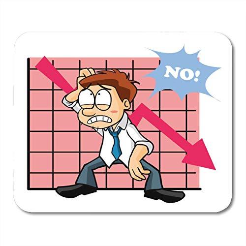 Mauspad Aktie Marktvertreter Charakter Trauriges Diagramm Unten Schlechtes Mousepad für Notebooks, Desktop-Computer Mauspads, Bürobedarf 10x12 Zoll