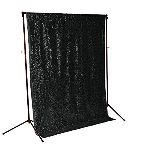 letten Hintergrund Pailletten Foto Hintergrund Sequenz Vorhänge Schwarz Party Tischdecken CT075 ()
