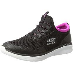 Skechers Synergy 2.0-Mirror Image, Zapatillas sin Cordones para Mujer, Negro (Black/Pink), 39 EU