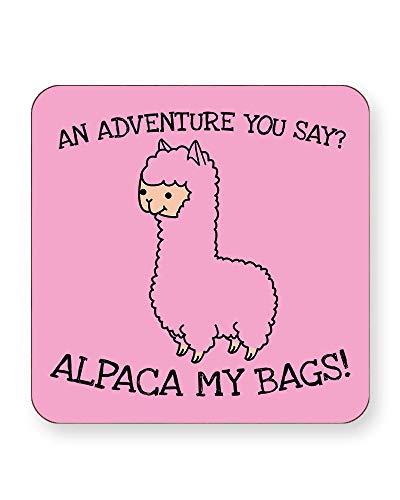 an Adventure You Sing? Alpaca My Bags - Animal Humour - Getränkeuntersetzer - einzeln oder als 4er Pack - quadratisch oder rund, SQUARE Individual (Square Halfter)