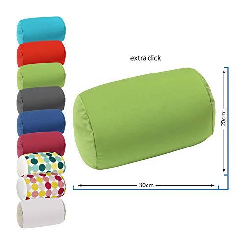 WOMETO Nackenrolle Plüsch & Stretch Füllung Mikroperlen - 30x20 cm Bezug grün weich einfarbig bunt