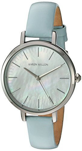 Karen Millen Women's Quartz Watch with White Dial Analogue Display and Light Blue Leather Strap KM126U