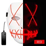 AnseeDirect Purge Mask Horror Máscara Halloween LED Máscaras para Fiestas...