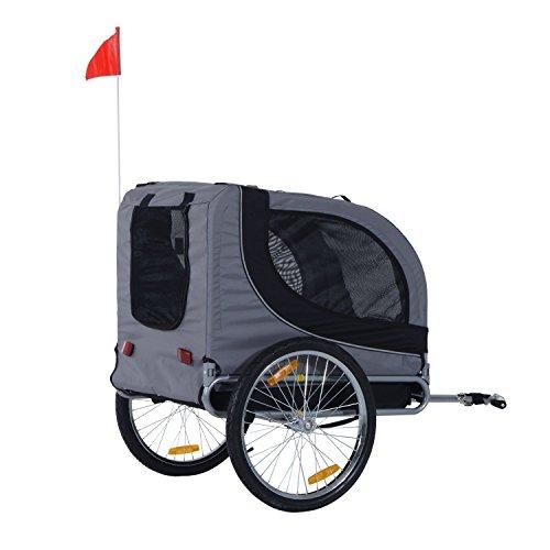 PawHut Hundeanhänger Fahrradanhänger Hunde Fahrrad Anhänger Grau -