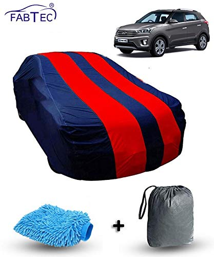 Fabtec Car Body Cover for Hyundai Creta Red & Blue Colour with Storage Bag + Microfiber Glove Combo!