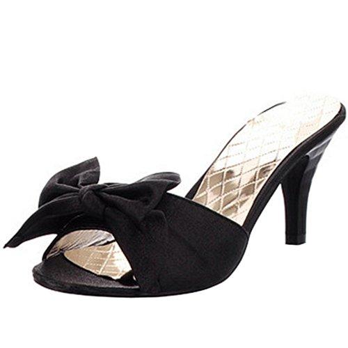 TAOFFEN Femme Mode A Enfiler Slide Chaussures Bowtie Mules Talon Haut Sandales 938 noir
