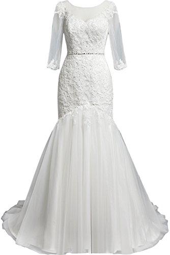 Ivydressing Romantisch Abendkleid Festkleid Tuell Meerjungfrau Ruecken mit Perlen Spitze Applikation Schleppe Satin Ballkleid Partykleid Weiß