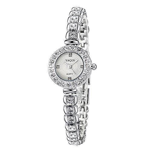 Relojes Pulsera Rhinestone Brillante Esfera Pequeña Pulsera Plateado Fina Cuarzo Relojes Mujer Hermoso...