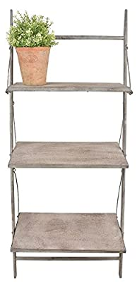 Vintage Style Aged Metal Ladder Shelves. 106cm tall