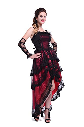 Damen Cothic Vintage unregelmäßige Kleid Ärmelloses Halloween Party Kostüm (EU 50, (Halloween Cocktail Themen Kostüme)