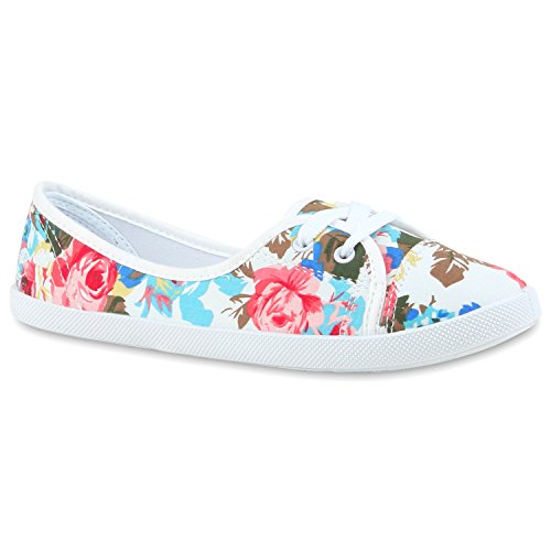 Klassische Damen Ballerinas | Sportliche Stoffschuhe | Slipper Flats | Sneakers Slip-ons | viele Farben Weiss Muster