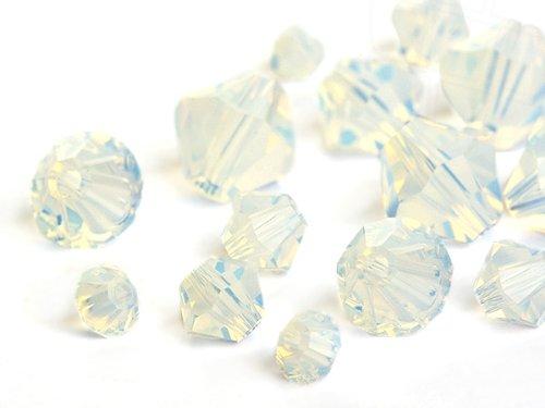 Glasperlen zum Auffädeln von Swarovski Elements Doppelkegel (White Opal Multi Size Mix), 3960 Stück