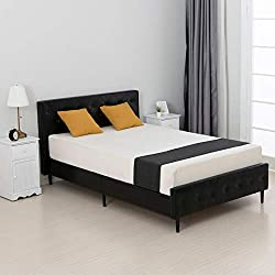 mecor Faux Leather Bed Frame in Black - No Box Spring Needed Tufted Headboard Footboard, Small Double