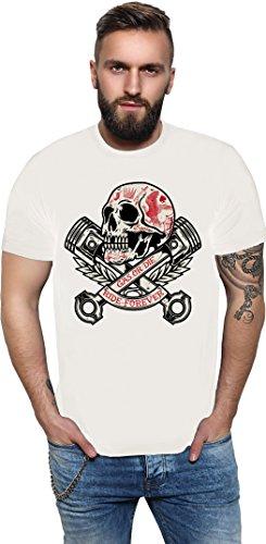 King Kerosin Skull and Pistons Regular T-Shirt Weiß Kolben Totenkopf Skull Motor Biker XXXL (Weiß Kolben)