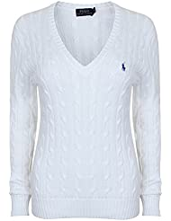 Polo ralph lauren à col v en coton cable pullover kimberly knit blanc -  Blanc - Small