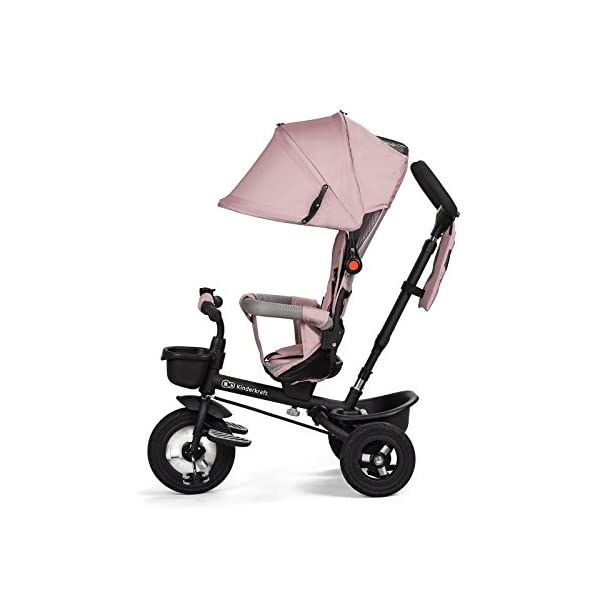 Kinderkraft Aveo Black and White Tricycle  Multifunctional Dreirädriges Aveo Bicycle Ride On A revolving seat with which the baby can face forwards and backwards. It is fitted with a large roof with a window for parents to protect the child both sun and rain. It has a basket with a contoured for the legs, plus a small basket for the transportation of your favourite pet toys. Features: Suitable for children from 1 to 5 years after penetration fixed rubber wheels swivel seat, Inverse or forward facing option folding function Rear brake parents 3 point safety harness for extra security barrier smooth the height of the handle for the parent unit high, broad, airy back rest platform pedals in the front wheel block 3