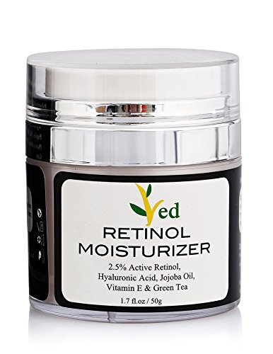 Retinol Moisturizer Cream for Face 1.7 oz with 2.5% retinol, hyaluronic acid, Vitamin E, Green Tea and jojoba oil