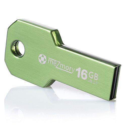 meZmory Schlüssel USB Stick 16GB Grün - Hochwertig & Einzigartiges Mini Design - USB 2.0 Speicherstick Wasserdicht & Extrem Robust aus Metall - Flash-Drive Ideal für Schlüssel-Anhänger