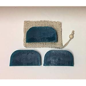 Festes Shampoo 3x90g Teebaum und Pfefferminz mit 1 Sisalsäckchen (10cm x 19cm)