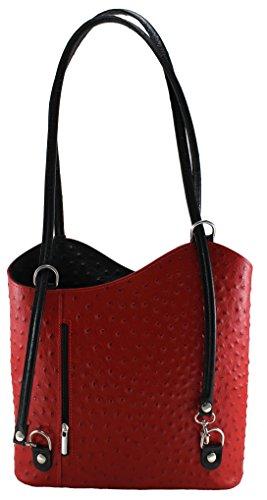 CTM Borsa da Donna a Spalla, Borsa con Stampa Struzzo, 28x30x9cm, Vera pelle 100% Made in Italy Rosso manico Nero