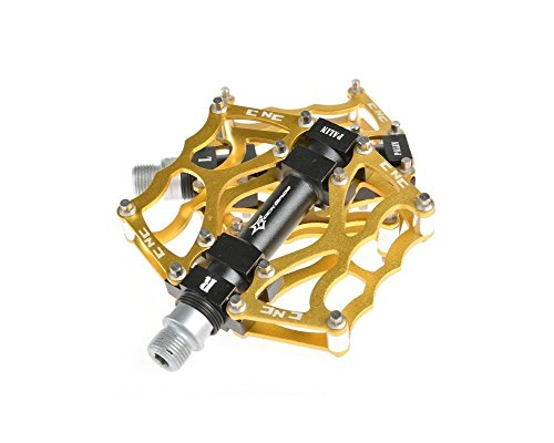 Rock Bros in Alluminio Cuscinetto Pedali per Bici MTB BMX Bike Bicycle Montagna Plat Form 9/16 CS6, Argento