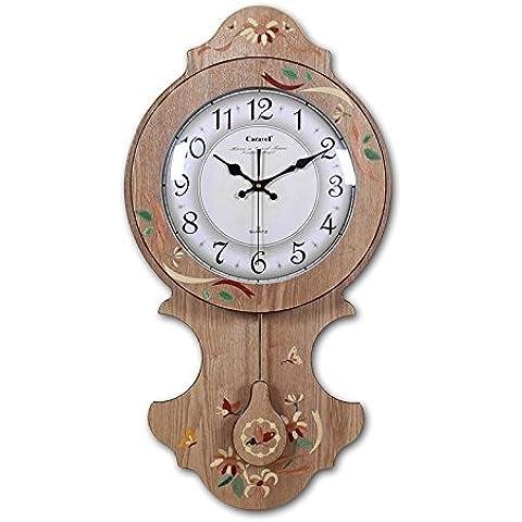 NooLom Reloj de pared de madera continental de estilo Coreano con flores pintadas a mano relojes de cuarzo reloj de pared dormitorio Salón gráfico