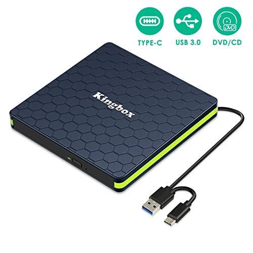Externes DVD/CD Laufwerk, Kingbox USB3.0 dvd Brenner kleines Tragbar, externes dvd laufwerk usb, Lenovo, Dell, Asus; Windows 7/8/10 und Mac OS für MacBook, MacBook Pro, MacBook Air, iMac-Schwarz Grün