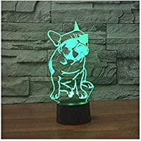 3D French Bulldog Night Light Illusion Lamp 7 Color Change LED Touch USB Table Gift Kids Toys Decor Decorations Christmas Valentines Gift