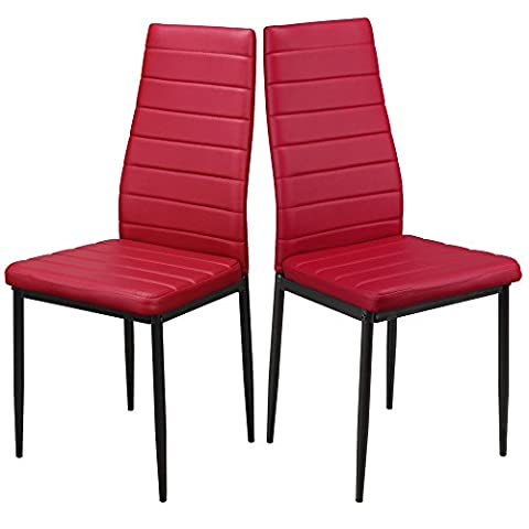 1home Modern Faux Leather Kitchen Dining Room Table Chairs Metal Legs High Back Red