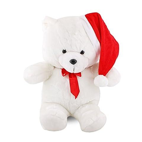 16 Pouces Ours Jouet en peluche blanc de neige-blanc, URAQT poupée de jouet Ours Doux avec noël chapeau rouge & Nœud papillon, cadeau pour garçons et filles