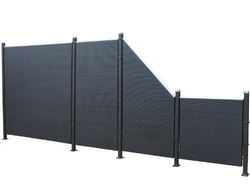 Prime Tech Poly-Rattan Sichtschutz / Zaun, Set 9-teilig in schwarz