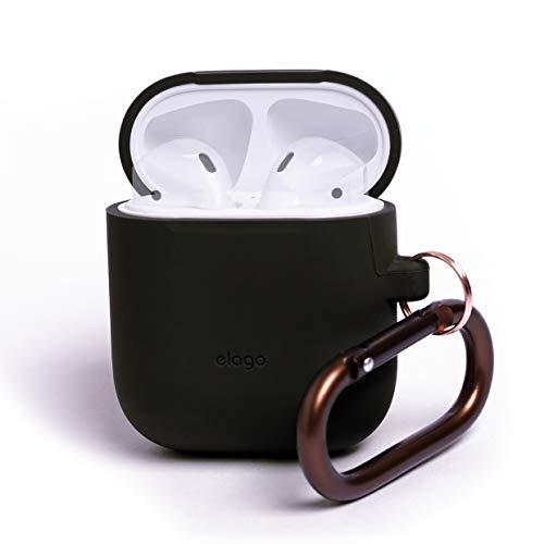 elago Custodia in Silicone da Appendere Compatiblile con Apple AirPods 1 & 2 (LED anteriore Non Visibile) - [Funziona la Ricarica Wireless] [Vestibilità Perfetta] [Con Moschettone Aggiunto] - Nero
