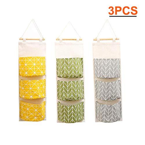 Zhengyue - borsa portaoggetti da appendere alla parete, impermeabile, da appendere alla porta, armadio, in lino, con 3 tasche a distanza, per camera da letto, bagno 3pcs1