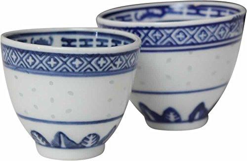 [ REISKORN BLAU ] Set - 4x Sake-Becher / Teebecher Ø 7cm / Teetasse / dragon Sake-becher-set